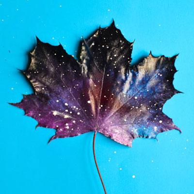 How to paint galaxy leaves - fun fall art idea