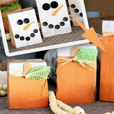 DIY Reversible scrap wood fall-winter decor (pumpkin and snowman)