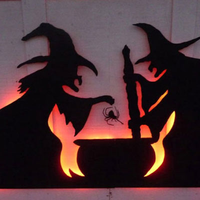 Halloween garage door decor from cardboard with led lights