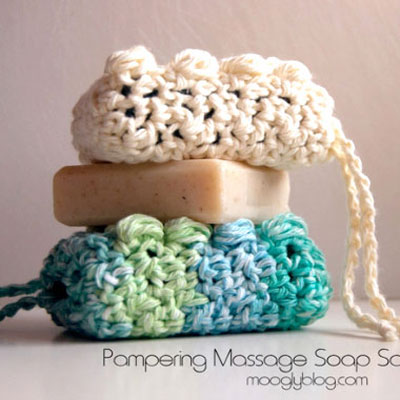 Pampering massage soap saver (free crochet pattern)