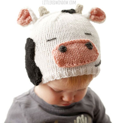 Knitted cow hat for kids (free knitting pattern)