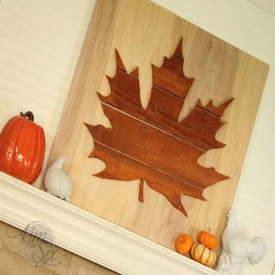 DIY wooden maple leaf silhouette wall art