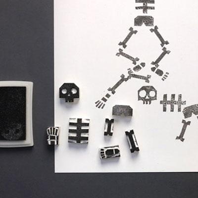 DIY skeleton eraser stamps - fun Halloween craft