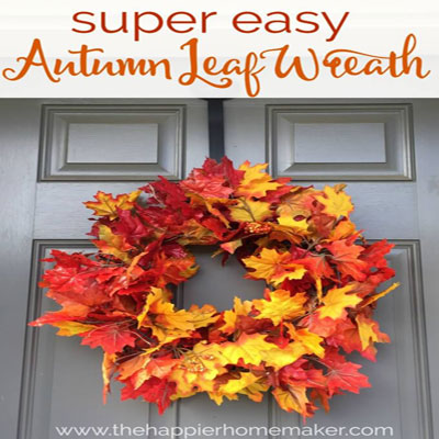 DIY Easy fall wreath with faux leaves
