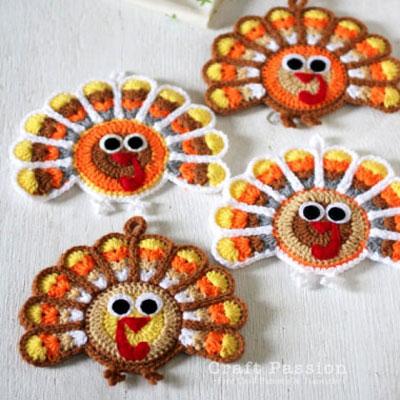 Crochet turkey coasters (free crochet pattern)