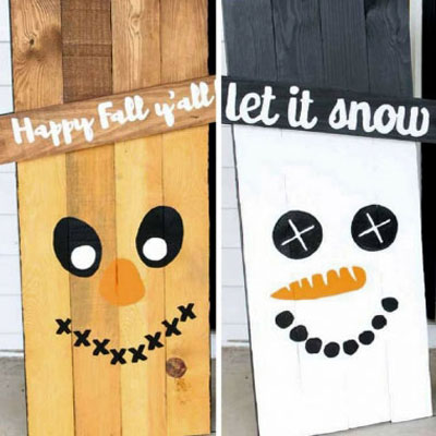 Reversible wooden scarecrow-snowman sign