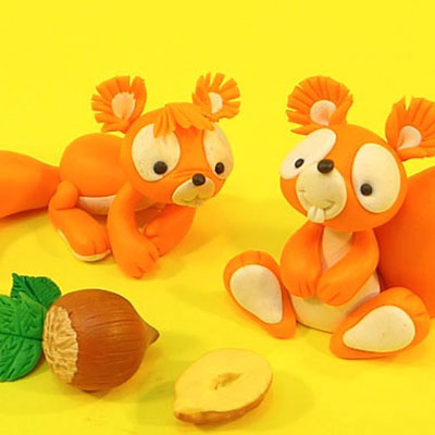 Cute squirrels - step-by-step polimer clay tutorial