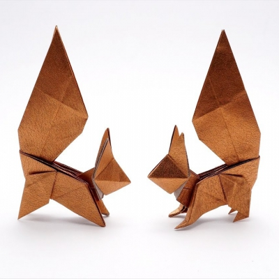 Easy origami squirrel - paper folding for kids