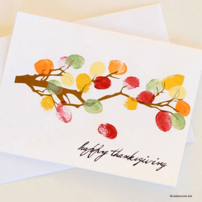 DIY Thanksgiving thumbprint fall leaf keepsake card