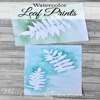 Watercolor leaf print - easy painting project