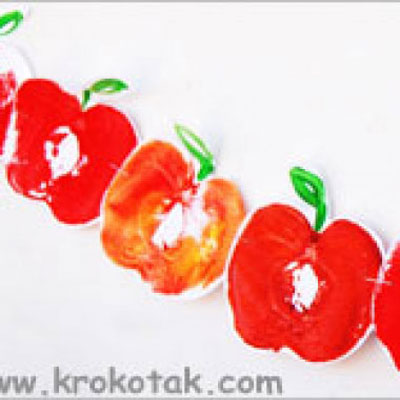Apple print  apple garland - easy fall craft for kids