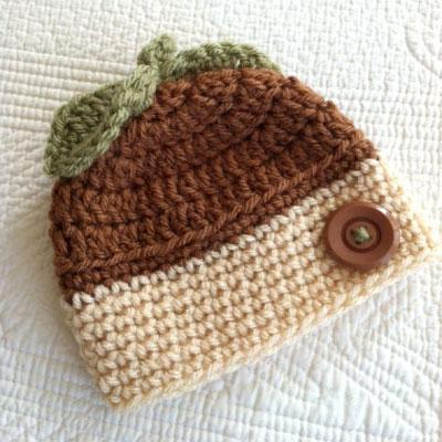 Acorn beanie for kids ( free crochet pattern )