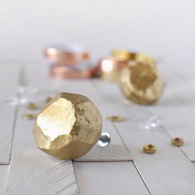 DIY Inexpensive golden clay furniture knobs