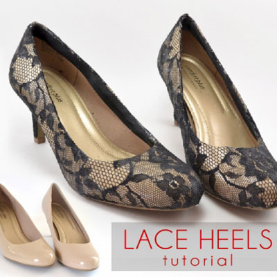 DIY Lace heels ( shoe makeover tutorial )