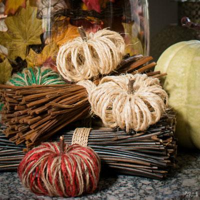 DIY Sisal pumpkins - fall yarn decor