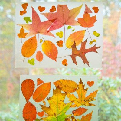 DIY Easy fall leaf window decor