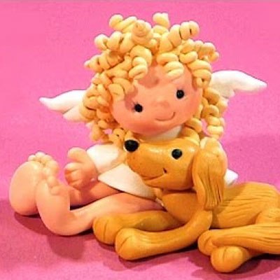 Cute sitting angel with dog - step by step polimer clay tutorial