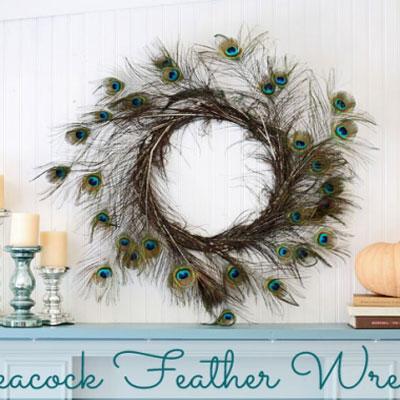 Peacock feather wreath - easy DIY home decor
