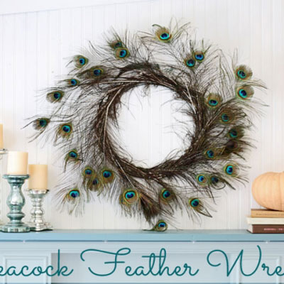 Peacock feather wreath - easy DIY home decor