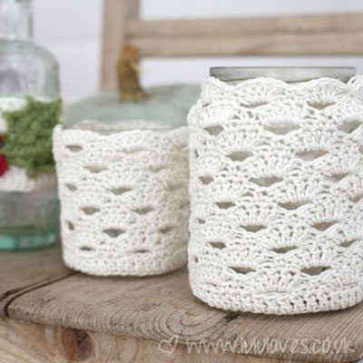 Crochet mason jar cozy (free crochet pattern)