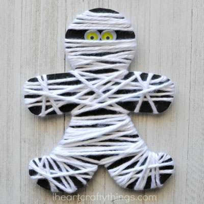 Yarn wrapped mummy - fun Halloween yarn craft for kids