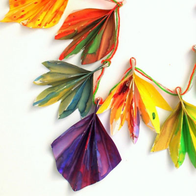 Painted accordion fold leaf garland - fall craft for kids