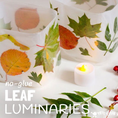 Fall leaf luminaries from plastic bottles