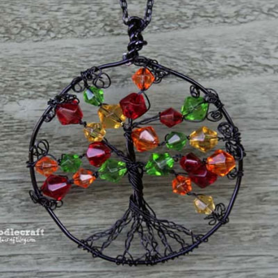 Autumn life tree medal - easy DIY wire jewelry