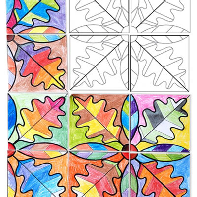 Fall leaf paper mosaics (free printable)