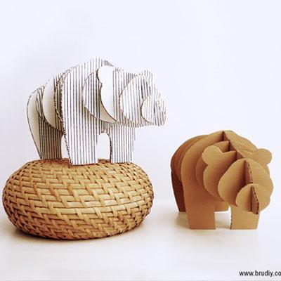 DIY 3D cardboard bear statue (free printable)