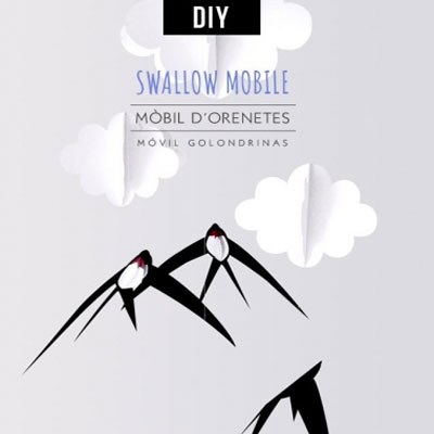 DIY Easy swallow bird paper mobile