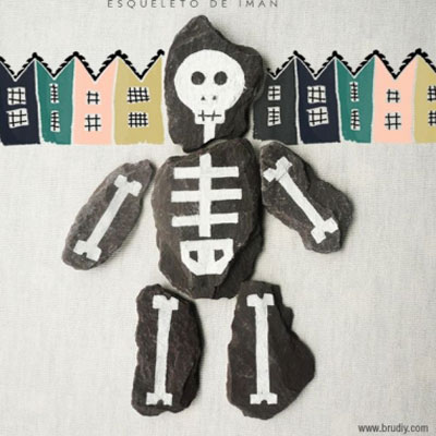 DIY skeleton rock puzzle - halloween craft for kids