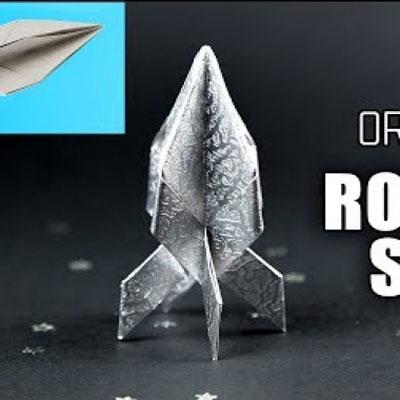 Origami rocket ship ( spaceship ) - fun papír craft for kids