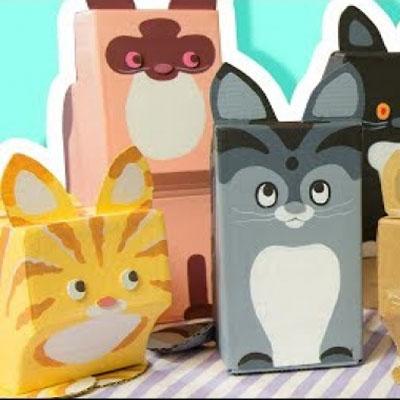 DIY cardboard cats - fun home decor from cardboard boxes