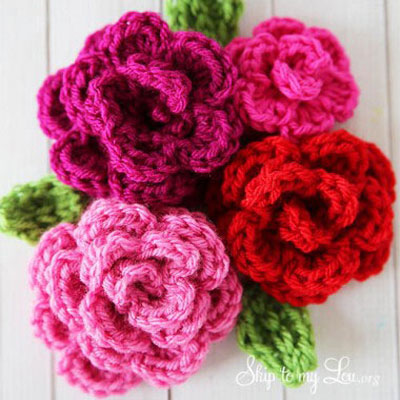 Crocheted roses ( easy rose crochet pattern )