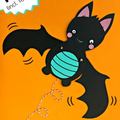 Cute & easy bat puppet - Halloween paper craft for kids