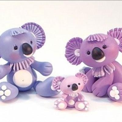 Cuddly koala family ( step-by-step polymer clay tutorial )