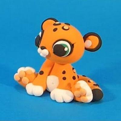 Sitting leopard cub - step-by-step polimer clay tutorial