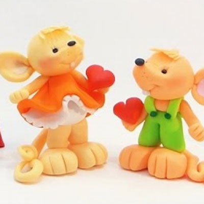Lovely mouse couple - polimer clay tutorial