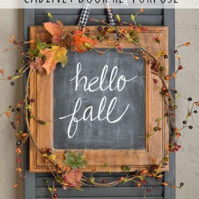 Fall chalkboard front door decor - cabinet door re-purposing craft