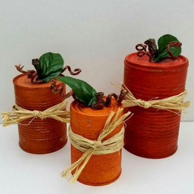 Easy DIY tin can pumpkins – fall decor