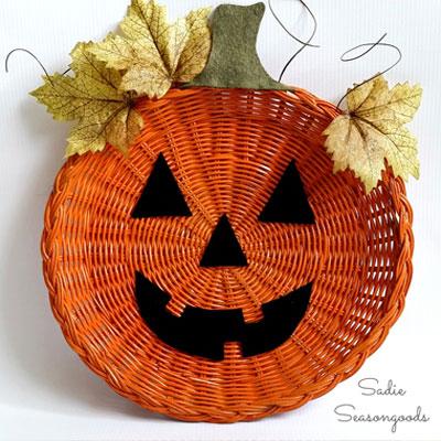 DIY Easy Halloween pumpkin wicker basket fall decor