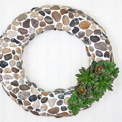 DIY Pebble & faux succulent wreath