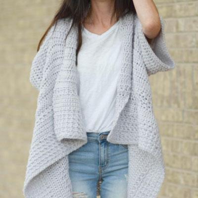 Crochet waterfall cardigan (free crochet pattern)