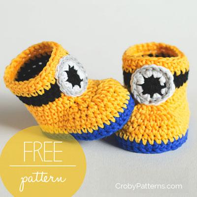 DIY Crochet Minion baby booties (free crochet pattern)