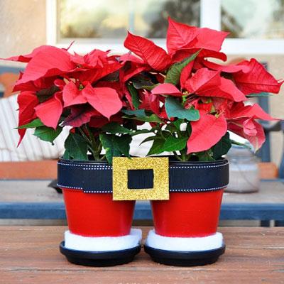 Santa pants flower pots - fun Christmas decor