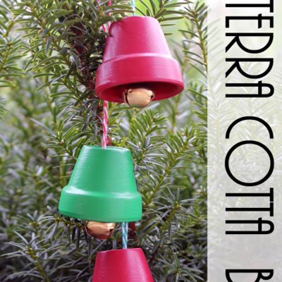 Christmas bell ornament from miniature clay pots