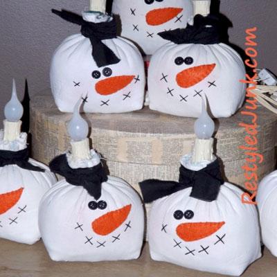 DIY Fabric snowman lights