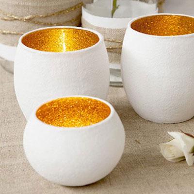 DIY Shimmering gold glass votives - Wedding table decoration