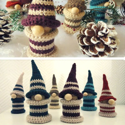 Crochet bobbin Christmas gnome (free video tutorial)
